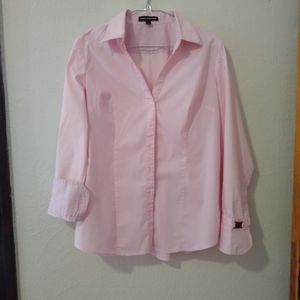 Pink button-down shirt with French cuffs